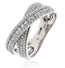 Pave Diamond Double Band X-Shaped Wedding Ring 0.70ct F VS in 18ct White Gold