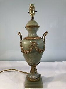 Antique Classical Urn Gilt Metal  Decorated Onyx Marble Table Lamp