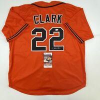 Autographed/Signed JACK CLARK San Francisco Orange Baseball Jersey JSA COA Auto