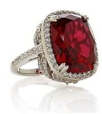 "Jean Dousset SS14ct Absolut Cushion-Cut Ruby PavéFrame ""Feather"" Cocktail Ring 5"