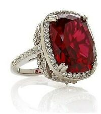 """Jean Dousset SS14ct Absolut Cushion-Cut Ruby PavéFrame """"Feather"""" Cocktail Ring 6"""