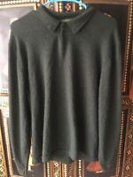 Eddie Bauer Mens Polo Pullover Moss Gray Long Sleeve Wool Cotton Blend Sz XL