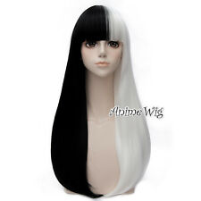 Lolita Women 65CM Long Black And White Straight Hair Halloween Cosplay Party Wig