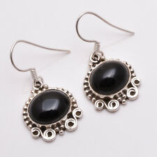 925 Sterling Silver Earrings, Natural Black Onyx Handcrafted Women Jewelry E76