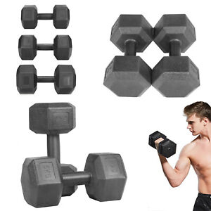 Hex Dumbbells 2X5/7.5/10kg Pairs Cast Iron Rubber Encased Home Gym Fixed Weight