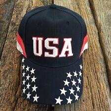 USA American Flag hat cap Stars-Stripes USA embroidered Baseballcap curve bill-F