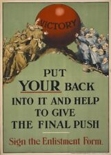Pon tu espalda en él y ayudar al final empuje irlandés WW1 cartel de propaganda