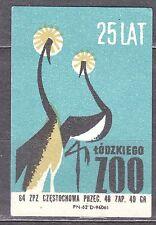 POLAND 1964 Matchbox Label - Cat.Z#498III, 25th Anniv., Lodz Zoological Garden.