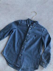 GENUINE Boys Cotton RALPH LAUREN Denim Jean logo SHIRT. Age 7 - 8. From Harrods