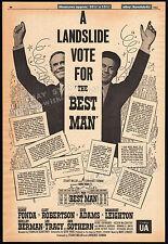 Gore Vidal__THE BEST MAN__Original 1964 Trade print AD promo_poster__HENRY FONDA