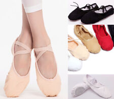 AU STOCK CHILD TO ADULT BALLET JAZZ DANCE CANVAS SHOES LEATHER SPLIT SOLE DA027