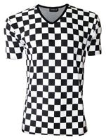 Men's Monochrome Checkerboard Chess Check Print V-Neck T-Shirt Top Tee Fashion