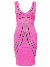 BNWT Lipsy Pink Studded Embellished Bodycon Evening Occasion Dress Size 14 NEW