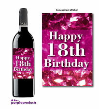 HAPPY 18TH BIRTHDAY PINK GLITTER DESIGN WINE BOTTLE LABEL GIFT