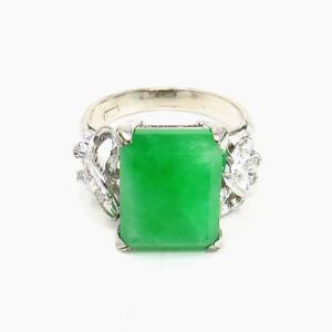 NYJEWEL 18K White Gold 6.5ct Jadeite A Jade Diamond Ring