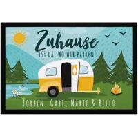 Fußmatte Familie personalisiert mit Namen Zuhause ist da wo wir parken Camping