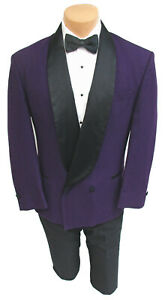 Men's Raffinati Purple Double Breasted Tuxedo Jacket with Black Satin Lapels 46R