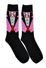 Mens Socks Tuxedo Pattern 1 Pair - Casual Novelty Wedding Groom Themed Fun Pink