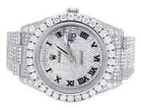 Mens Rolex Day-Date II 18K White Gold 41MM President 218239 Diamond Watch 29.5Ct