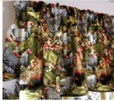 "Big Beautiful Chickens Kitchen Window Curtain Valance Cotton fabric 42""W x 15""L"