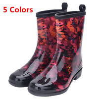 Women Mid-calf Rain Boots Waterproof Rubber Flat Heel Round Toe Slip On Shoes