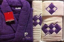 PIERRE CARDIN L/XL LUXURY 4 PIECE BATHROBE JACQUARD TOWEL SET PLUM PURPLE CREAM