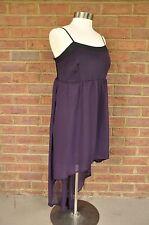 Womens Yummy Plus Size 1X High Low, Mini Maxi Dress Eggplant Purple