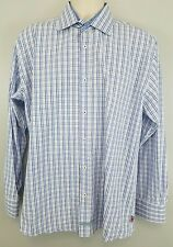 English Laundry Gingham Check Shirt Cotton Blue Plaid Button Men's Long Sleeve