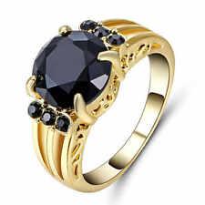 Big Stone Black Sapphire CZ Gems Wedding Ring 10KT Yellow Gold Filled Size 7