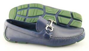 Men's SALVATORE FERRAGAMO 'Parigi 5' Blue Leather Loafers Size US 9.5 - D