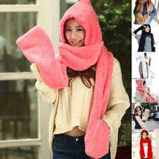 Winter Warm Women Ladies New Gloves With Pocket Fluffy Hood Scarf Earflap Hat BI