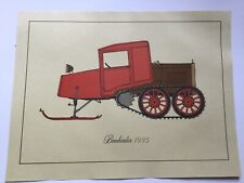Vintage Print Of Bombardier , Snowmobile History, 1935, UNFRAMED