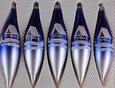 5er Christbaumschmuck Set Oliven 17cm Blau mit weiß Haus Lauscha handbemalt
