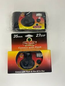 Lot of 2 Our Family 35mm Disposable Camera - New Sealed