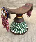 ANTIQUE AFRICAN ETHIOPIAN HEADREST DECORATED w/ BEADS, SHELLS And PIGMENT