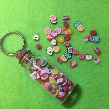Miniature Kawaii Polymer Clay Tiny Fruits Glass Bottle Keyring Cute, Funky Gift