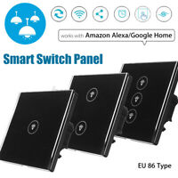 WIFI Smart Wall EU Touch Panel Switch Remote Control Work With Alexa Google