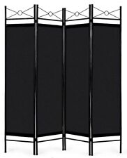 4 Panel Room Divider Fabric Metal Frame Home Office Privacy Screen Black