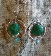 Vintage Silvertone Metal Hoop Blue Green Bead Drop Dangle Wire Pierced Earrings