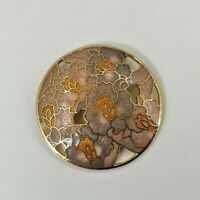 VINTAGE PURPLE LILAC PINK ORANGE FLOWER ROUND CLOISONNE ENAMEL LADIES PIN BROOCH