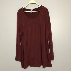 Catherines Women Blouse 1X 18/20W Red Magenta Long Sleeve Quilt Stitched Casual