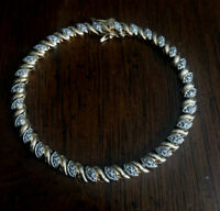 "Lovely Gold Over  Sterling Silver Fancy Bracelet 7"" with Safety Free Shipping!"
