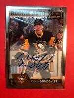 2016-17 OPC Platinum Rookie Auto #R-OS Oskar Sundqvist Penguins RC Autograph