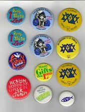Miscellaneous pin back buttons - 12 pieces - Christian Themed