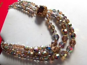Breathtaking Three Strand Crystal Glass Necklace with Jewelled Clasp