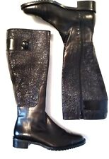 Cole Haan Womens Size 6 Black Side Zip Button Knee High Tall Leather Boots NWOT
