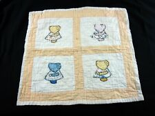 Quilt Vintage Doll Baby Child Yellow White Embroidered Applique Sunbonnet Sue