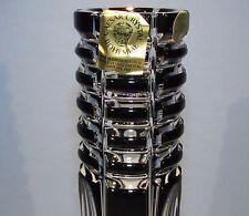 CAESAR CRYSTAL Black Vase Hand Cut to Clear Overlay Czech Bohemia Bohemian
