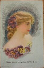 1909 Maud Stumm-Signed Glamour Postcard-Beautiful Woman