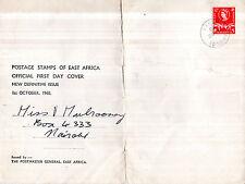 Kut África del este 1 de octubre de 1960 30 centavos definitivo de gran tamaño de primer día cubierta Cds